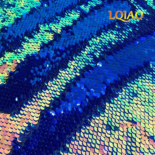 LQIAO Fluorescence Gold Sequin Fabric Flip Up Mermaid Reversible Color Changing Strips Shimmer Sequin Fabric by the Half of Yard Wedding/Pillow Cover/Dress Home DIY ()