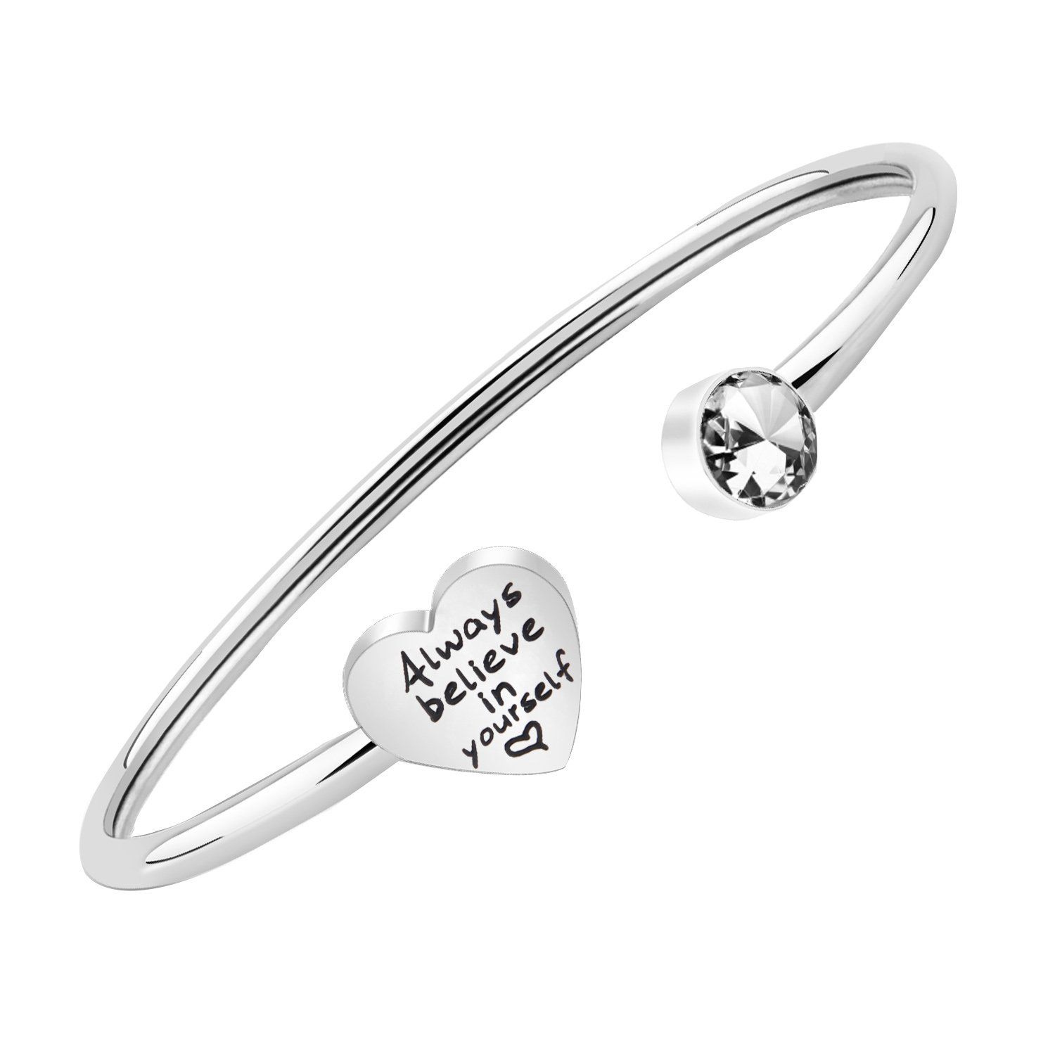 PLITI Inspirational Jewelry Always Believe In Yourself Bracelet Stainless Steel Bangle Graduation Gifts For Her (Silver)
