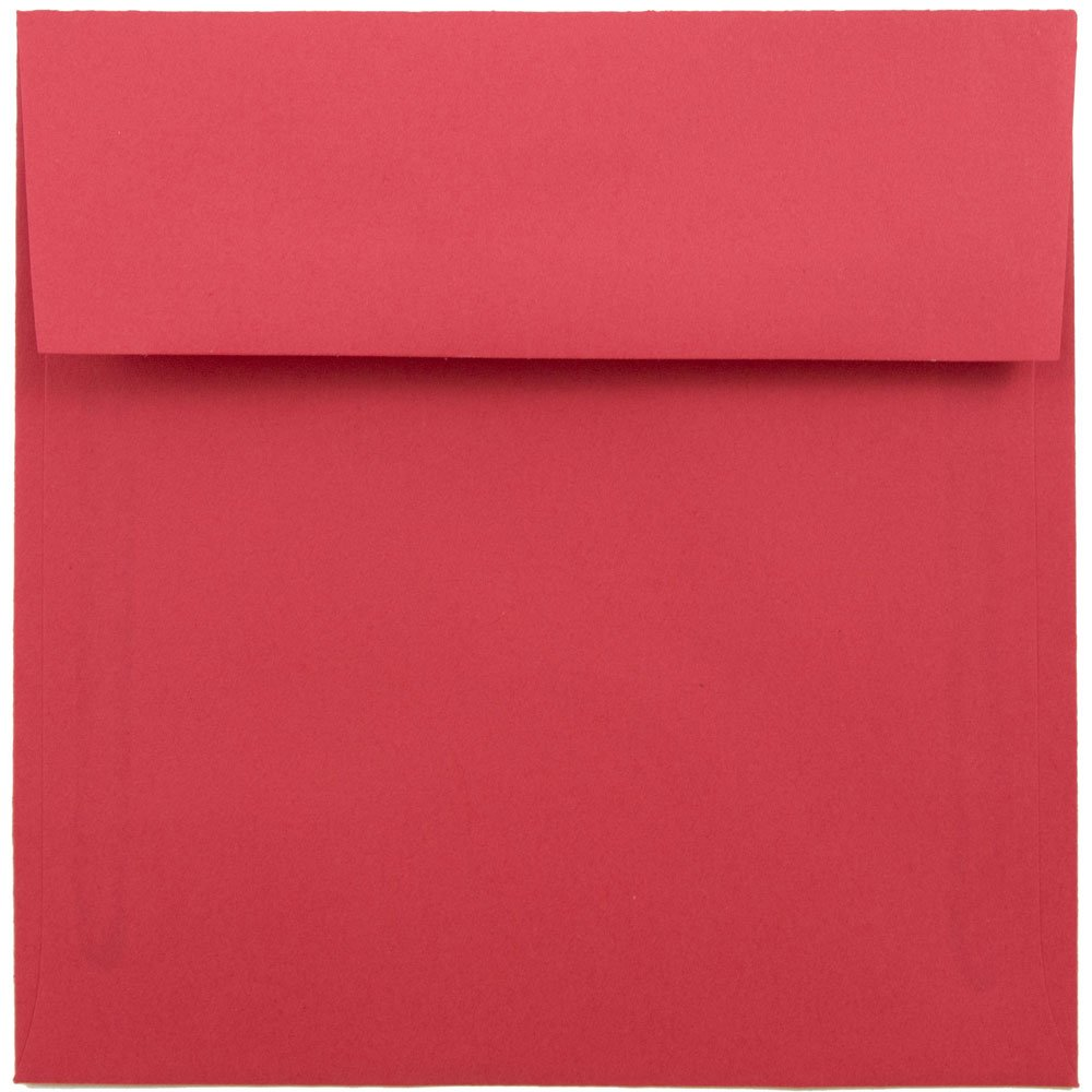 6x6 Square (6 x 6) Brite Hue Christmas Red Recycled Paper Envelope ...