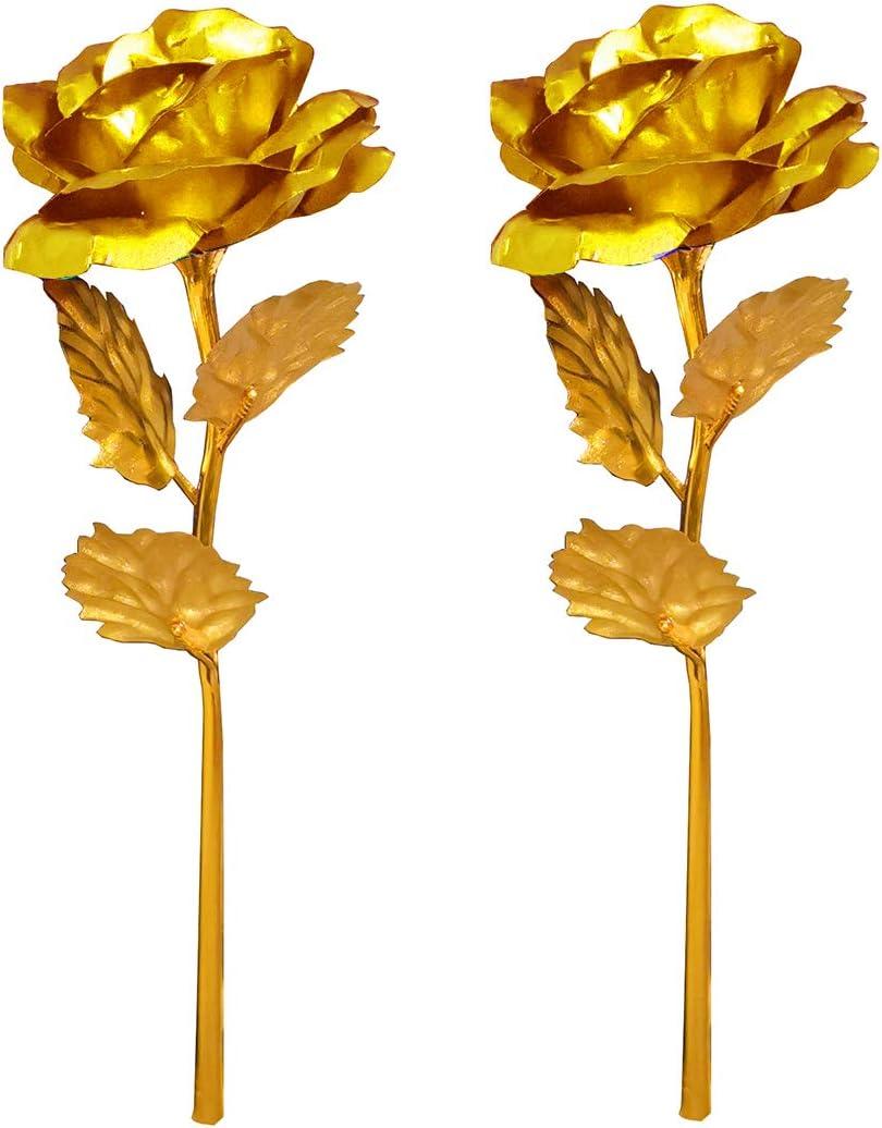 Fontee Bouquet Fiori Rose Placcato Oro Natale Blu Valentines Day Decorazione Anniversario Festa della Mamma Rose Artificiali Bouquet Lamina doro con Confezione Regalo Compleanno