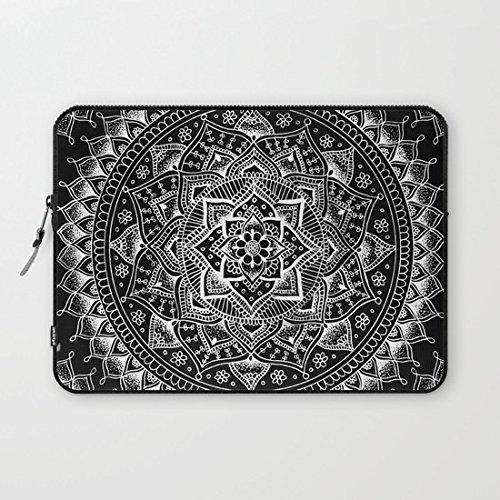 28530e6f4fbb Buteri Eratio White Flower Mandala on Black Neoprene Protective Laptop  Sleeve 13 Inch MacBook Air Case MacBook Pro Sleeve and 13 Inch Laptop Bag  Cover