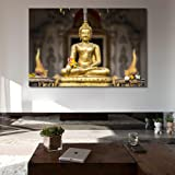 999Store Wooden framed large printed golden buddha in the bamboo forest canvas painting (180x120cms)
