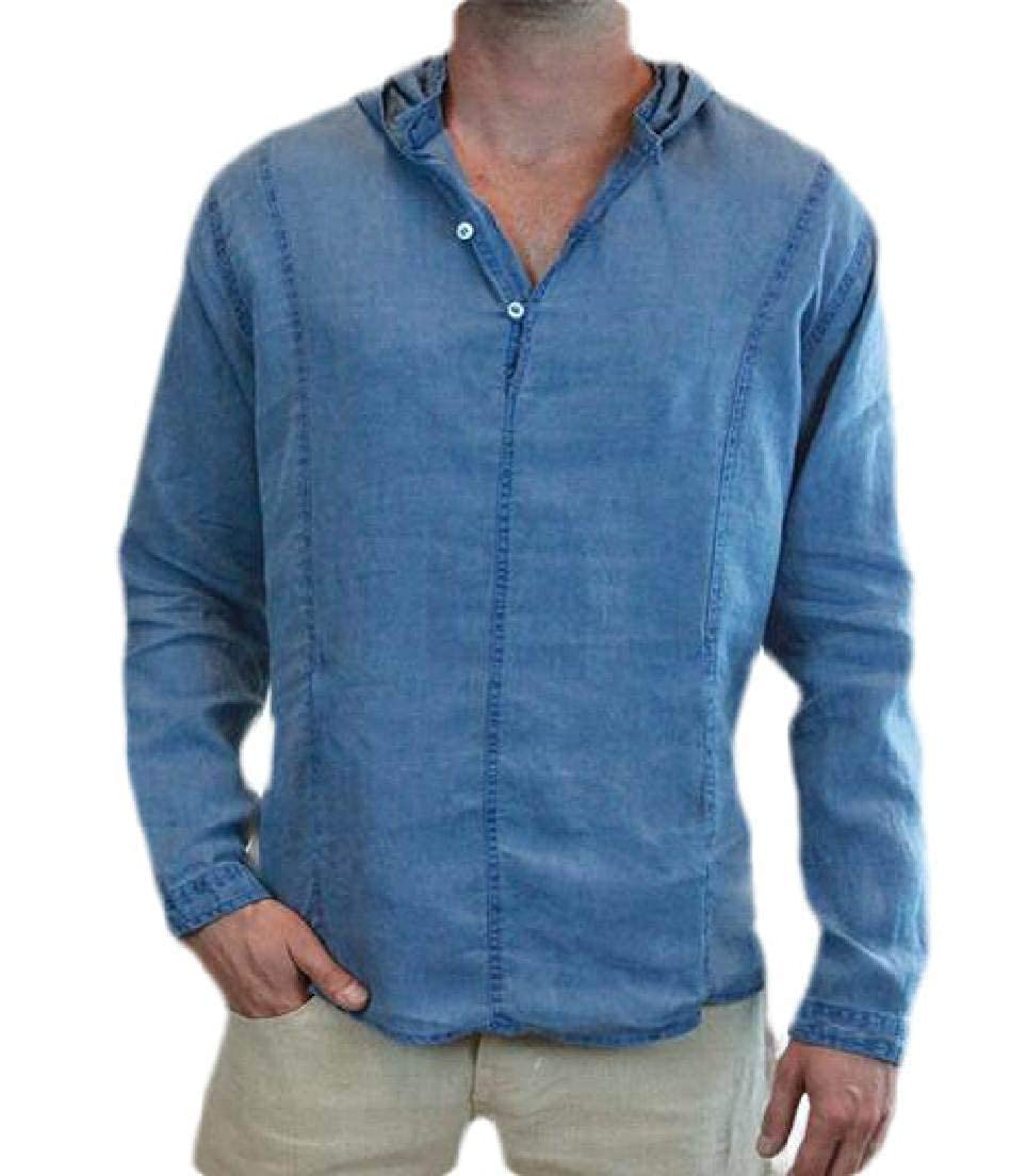 Frieed Mens Hoodie Top Regular Fit Solid Long Sleeve Linen Shirts