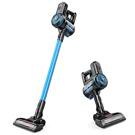 Cordless Vacuum, GOOVI Stick Vacuum Cleaner, 10KPa Powerful Cleaning Lightweight 2 in 1 Handheld Vacuum with Rechargeable Lithium Ion Battery and LED Brush