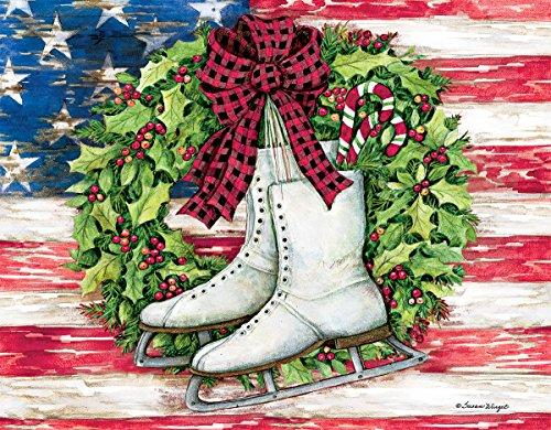 """Lang Patriotic Skates Boxed Christmas Card, 5.375""""x6.875"""", 18 Cards & 19 Envelopes (1004776)"""