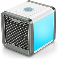 Air Luftkühler 3-in-1 Kleine Tragbare USB-Air Cooler Mobile Fan Mini AC-Einheit Persönliche Luftraum Luftbefeuchter Luftreiniger mit 3 Geschwindigkeiten und 7 Farben LED-Licht