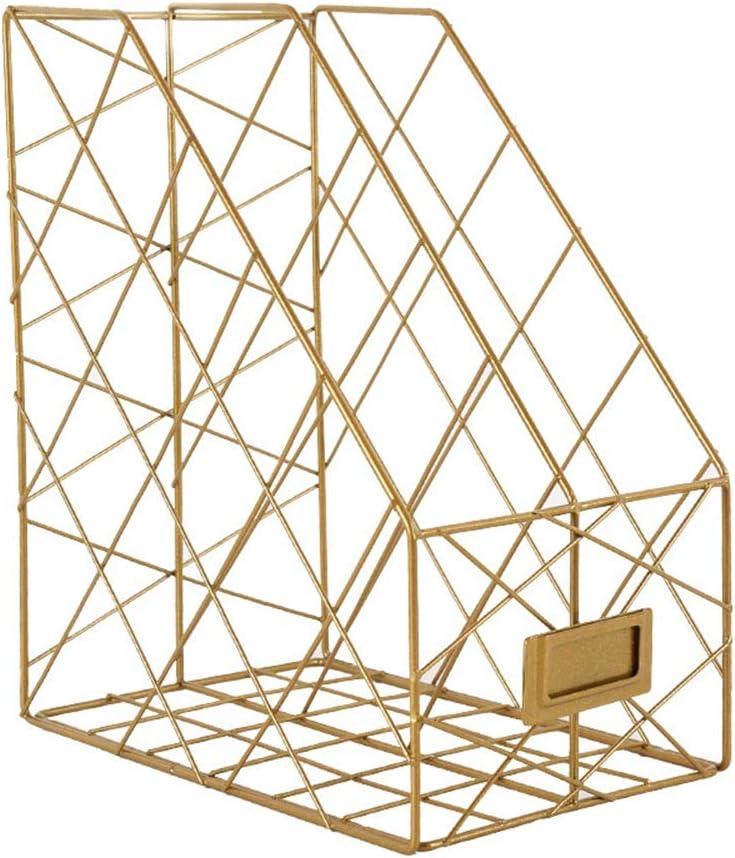 文書保管用ラック 雑誌のファイルホルダー、会社を動かすのに適した金属の格子ファイルホルダーが付いている事務机の文書の選別機の手紙のオルガナイザー 机収納ラック (色 : ゴールド, サイズ : 16X24.5X29CM)