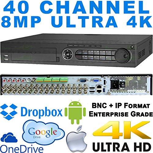Integration Audio - USG 40 Channel Enterprise Grade Ultra 4K H.265+ 8MP DVR : 32 x 5MP BNC + 8 x 8MP IP Channels, 2x HDMI + VGA + BNC, 2x RJ45, RCA Audio, RS232, POS Integration, RS485, Alarm : Apple Android Phone App