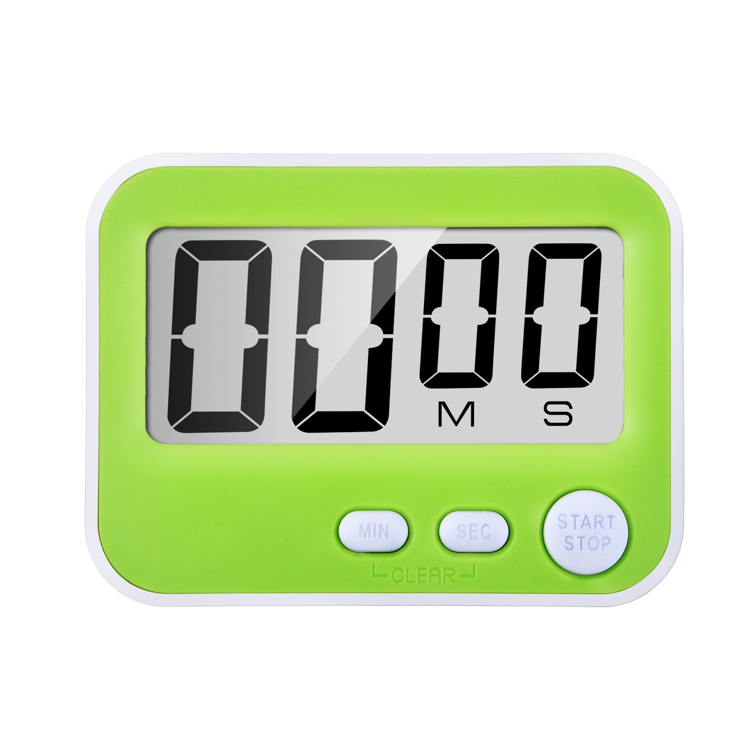 Magnetic Digital Kitchen Timer with Loud Alarm, Big Screen and Stand (Green) Mudder