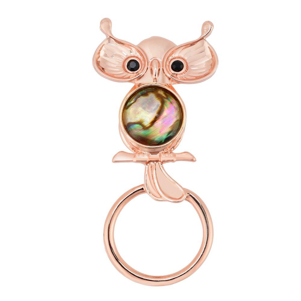 GUANDU Cute Owl Abalone Shell Magnetic Eyeglass Holder for Women Teen Girls (Rose Gold)