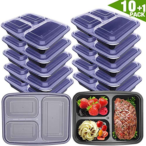 VANCOOL Meal Prep Containers 3 Compartment with Lids BPA Free Food Storage Bento Style Lunch Boxes for Portion Control,Microwaveable/Reusable/Freezer & Dishwa, 11 Pack, Black