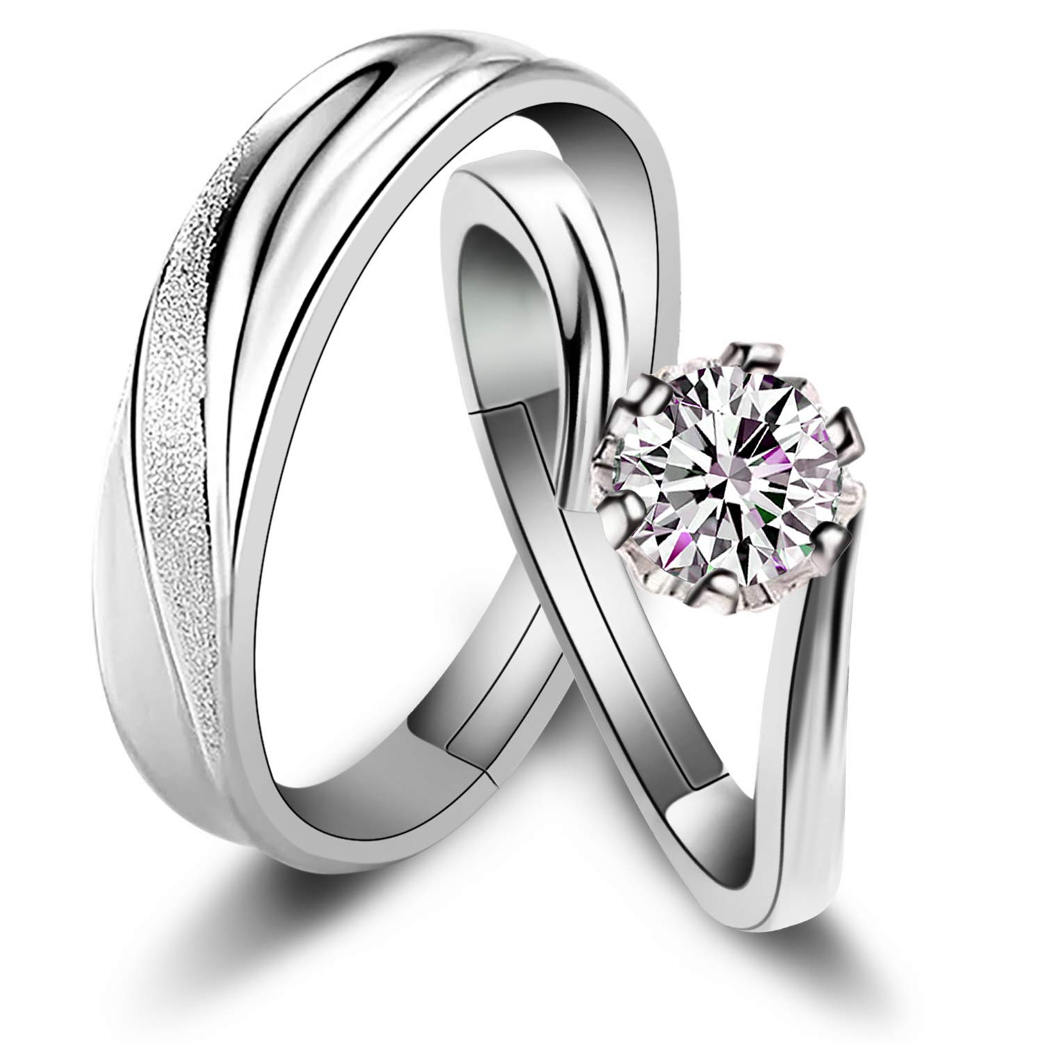 e4c0374dbd Sunamy Endless Love Matching Couple Rings for Him and Her Set, Adjustable  925 Sterling Silver Romantic Heart Design, Promise Ring Engagement Ring ...