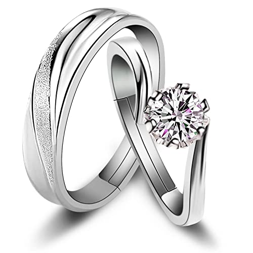 d29fd53b81 Sunamy Endless Love Matching Couple Rings for Him and Her Set, Adjustable 925  Sterling Silver