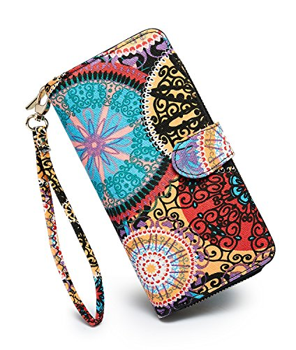Leather Embroidered Clutch - LOVESHE Women's New Design Bohemian Style Bifold Canvas Purse Clutch Wallet Card Holder New Fashion