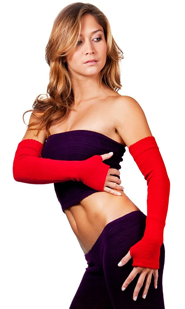 Arm Warmers Stretch Knit Thumb Hole Fingerless Sweater For The Arms