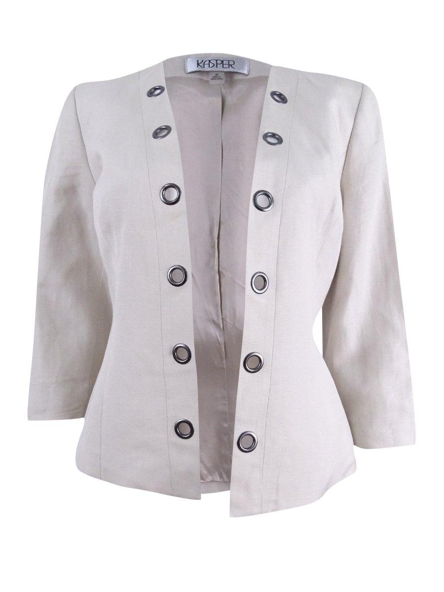 Kasper Womens Petites Double Breasted Grommet Trim Jacket Beige 4P