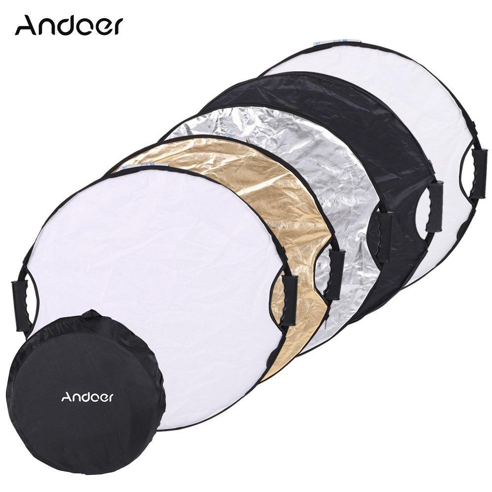 Andoer® 110cm 5in1 Redondo Multi-Disc Reflector Plegable Portátil de Foto...