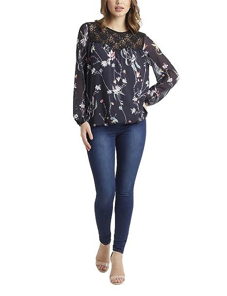 Lipsy Mujer Blusa con Estampado de Flores Negro EU 36 (UK 8)