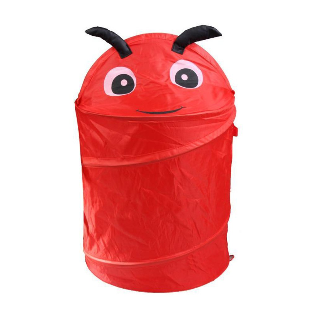 Dirty Clothes Storage Basket Toy Case Organizer Box Laundry Basket Cartoon Animals Home Folding Storage Bucket With Cover Laundry Cylinder Basket Household Washing Laundry Hamper(red beetle,Red)