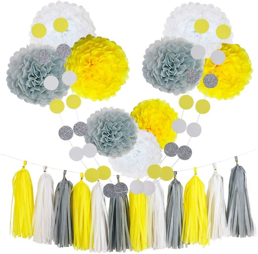 CHOTIKA 23pcs Tissue Paper Flowers Pom Poms Party Decorations Tassel Garland for Baby Sunshine Birthday Party Supplies Bridal Shower Wedding Decorative Decor 100% Premium Paper (Yellow, White, Grey)