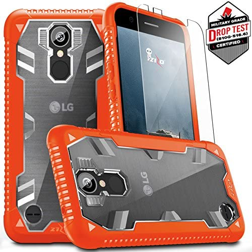 [해외]Zizo Proton 2.0 Series Compatible with LG K20 Plus Case Military Grade Drop Tested with Tempered Glass Screen Protector LG Harmony Case Orange Clear / Zizo Proton 2.0 Series Compatible with LG K20 Plus Case Military Grade Drop Test...