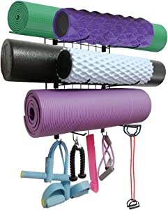 Yoga Mat Rack Wall Mount Foam Rollers Holder Free Adjustment Spacing Exercise Equipmen Organizer with 4 Towel Hooks for Hanging Yoga Strap Resistance Bands Chains Jump Ropes Gym Workout