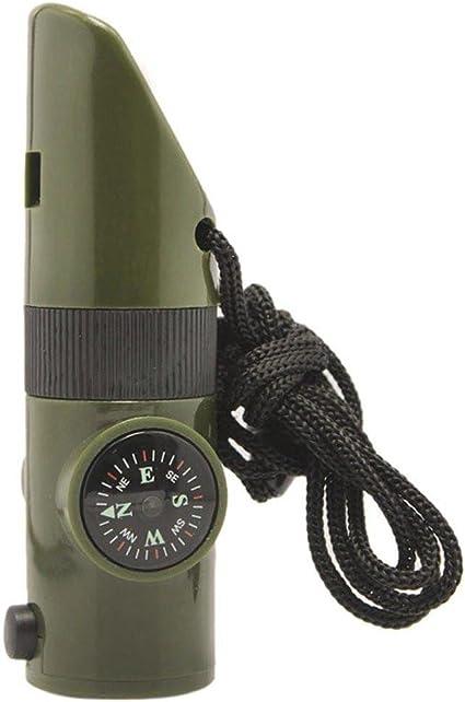 1 en 7-Camping Survie Sifflet Boussole Thermomètre DEL Lampe Feu Nouveau