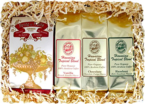 Variety Gift of Candy and Three Flavored Kona Hawaiian Coffees in Gift Box with Colorful Ribbon (Click to See Cute Gift Box), Old-Fashioned Hard Candy and Chocolate, Hazelnut and Vanilla Coffee