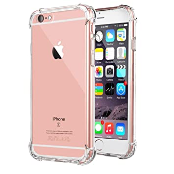 buy online f90b5 d846d iPhone 6s Plus Case, iPhone 6 Plus Case, Jenuos Clear Soft TPU Shockproof  Phone Case Cover Transparent Silicon Bumper for Apple iPhone 6 Plus / 6S ...