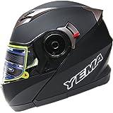 Motorcycle Modular Full Face Helmet DOT Approved - YEMA YM-925 Motorbike Moped Street Bike Racing Crash Helmet with Sun Visor for Adult, Men and Women - Matte Black, Large