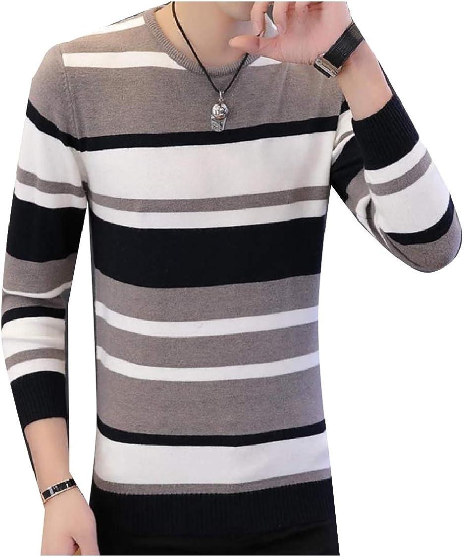 CuteRose Men Fit Contrast Crewneck Long-Sleeve Stripe Pullover Sweater