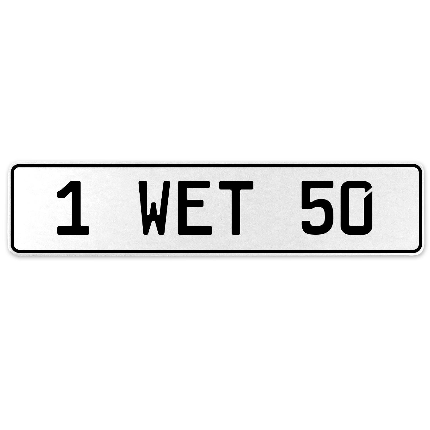 Vintage Parts 555043 1 Wet 50 White Stamped Aluminum European License Plate