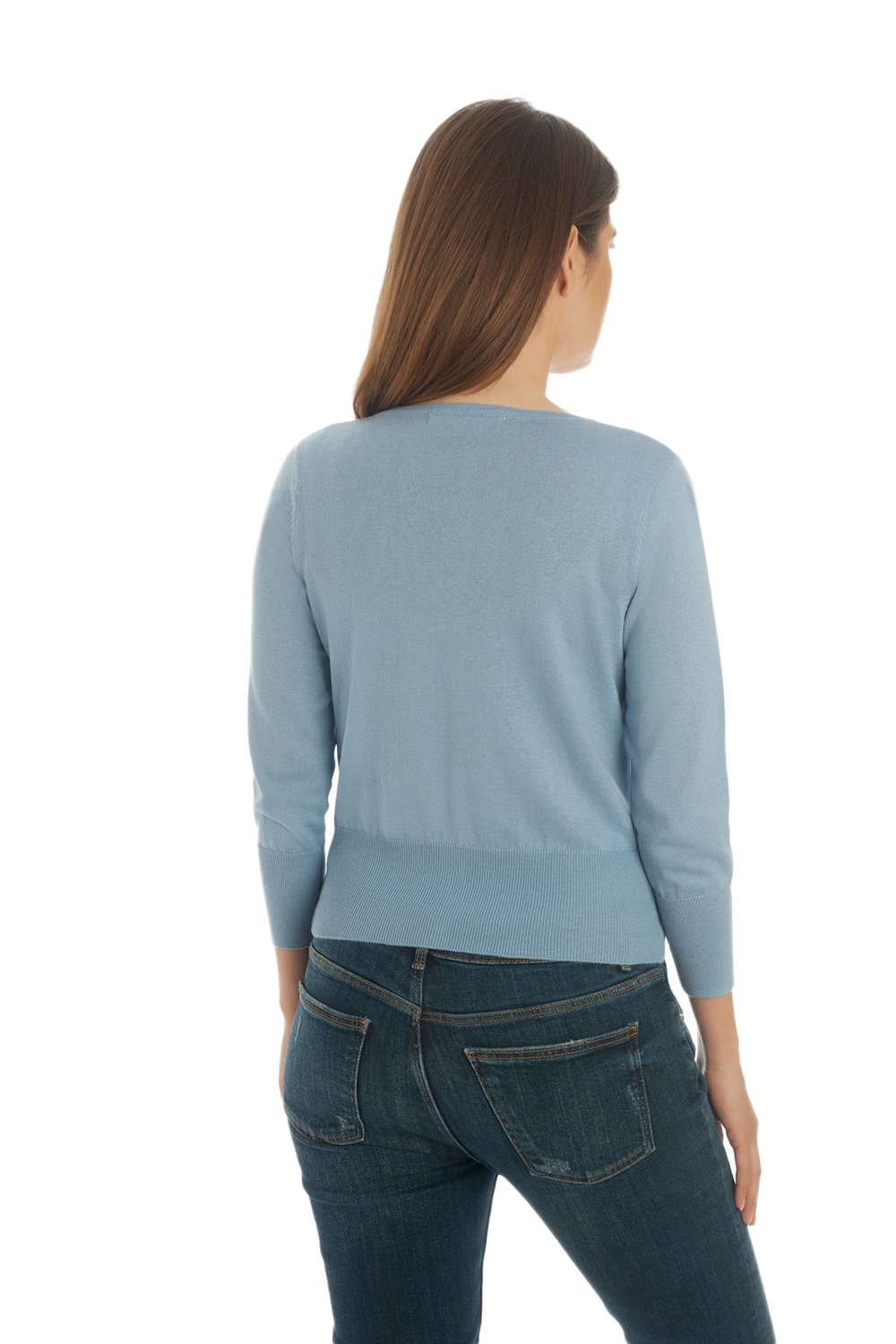 Adorawool - Cardigan Sweater for Women - Luxury Silk & Cotton - Button Down - Cropped Crew - 3/4 Sleeve - Maya Blue - Size Large by Adorawool (Image #4)