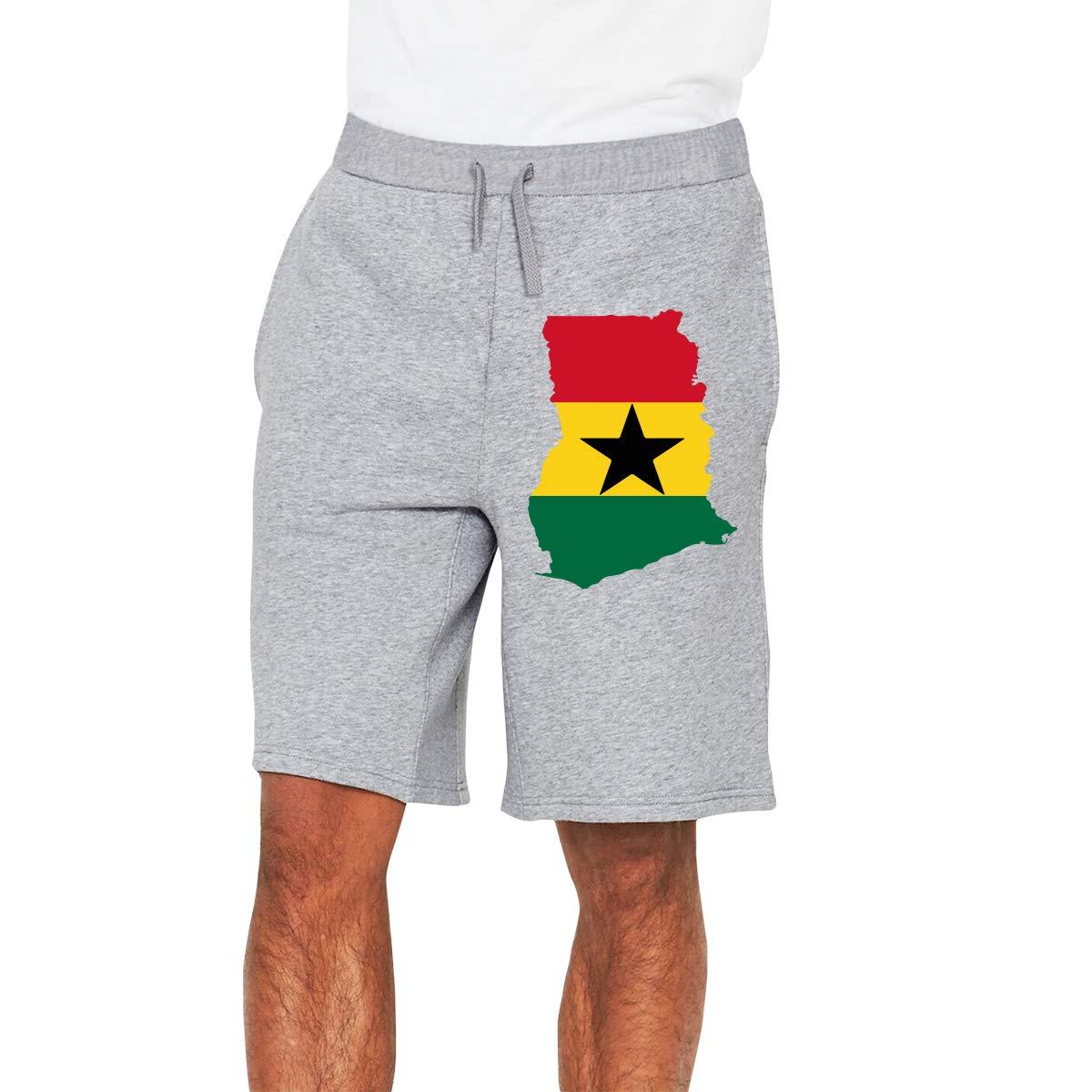 YDXC2FY Men Board Short with Elastic Waist Drawstring Summer Shorts Ghana Flag 1 Patterned Gym Jogging Shorts