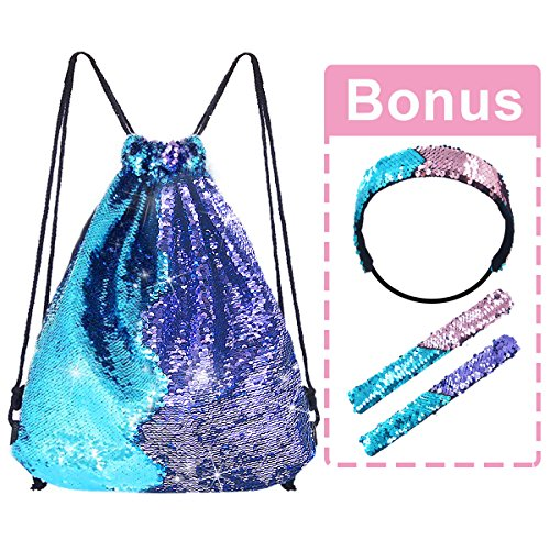 Pawliss Mermaid Reversible Sequin Drawstring Backpack with Bonus Slap Bracelet & Headband Set, Magic Glittering Dance Bag, Blue & Purple, (One Charming Party Halloween Games)