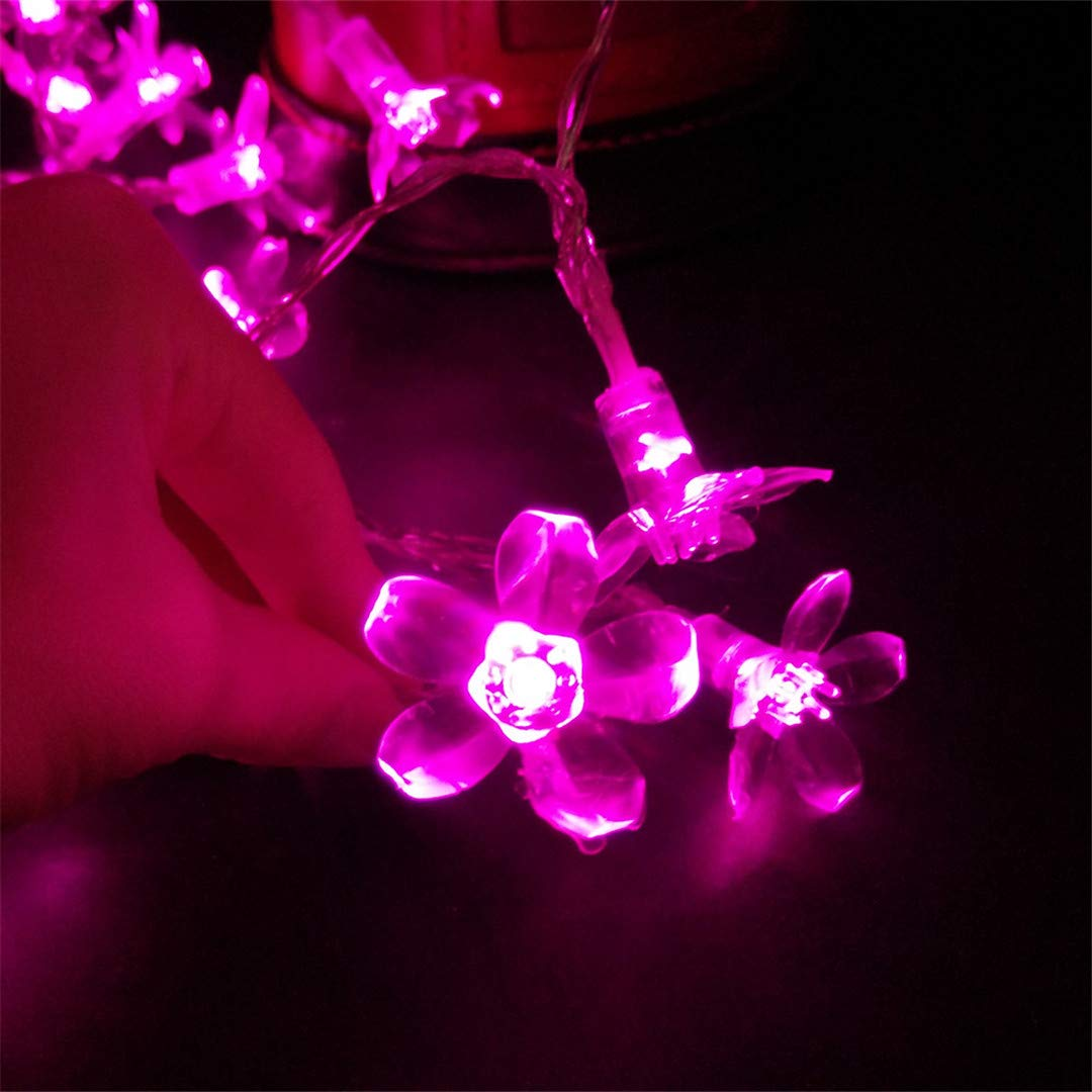BGFHDSD 5M 50 LED Cherry Blossom Fairy String Light Sakura Flower Battery Operated Christmas Xmas Wedding Party Decoration Lights Purple by BGFHDSD (Image #3)