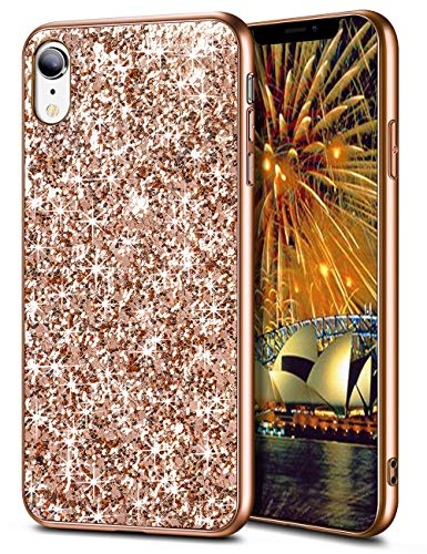 Wollony iPhone XR Case,Ultra Slim iPhone XR Bling Shiny Glitter Case for Girl Hybrid TPU Shock-Absorption Bumper Sparkle Hard Back Cover for iPhone XR 6.1