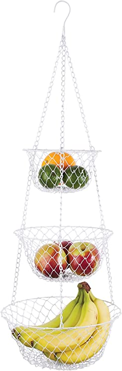 Amazon Com Fox Run Brands 3 Tier Hanging Fruit Vegetable Kitchen Storage Mesh Basket Various Colors Home Storage Baskets Kitchen Dining
