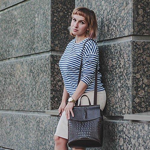 Coffee For Backpack Girls Teenage Leather School Backpacks Print Bag Bag Crocodile 5Ax1TCw8qC