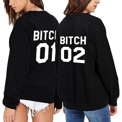 """f47c7808c33474 JWBBU Best Friend Pullover für 2 Mädchen Sweatshirt Weiß Damen Pulli Schwarz  mit Aufdruck Baumwolle Ohne Kaputze """"Bitch"""" Geschenk Süß 1 Stück (S, ..."""