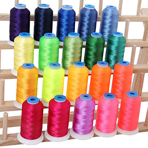 Threadart 20 Spool Polyester Embroidery Machine Thread Neon Bright Colors | 1000M Spools 40wt | For Brother Babylock Janome Singer Pfaff Husqvarna Bernina Machines - 10 Sets Available
