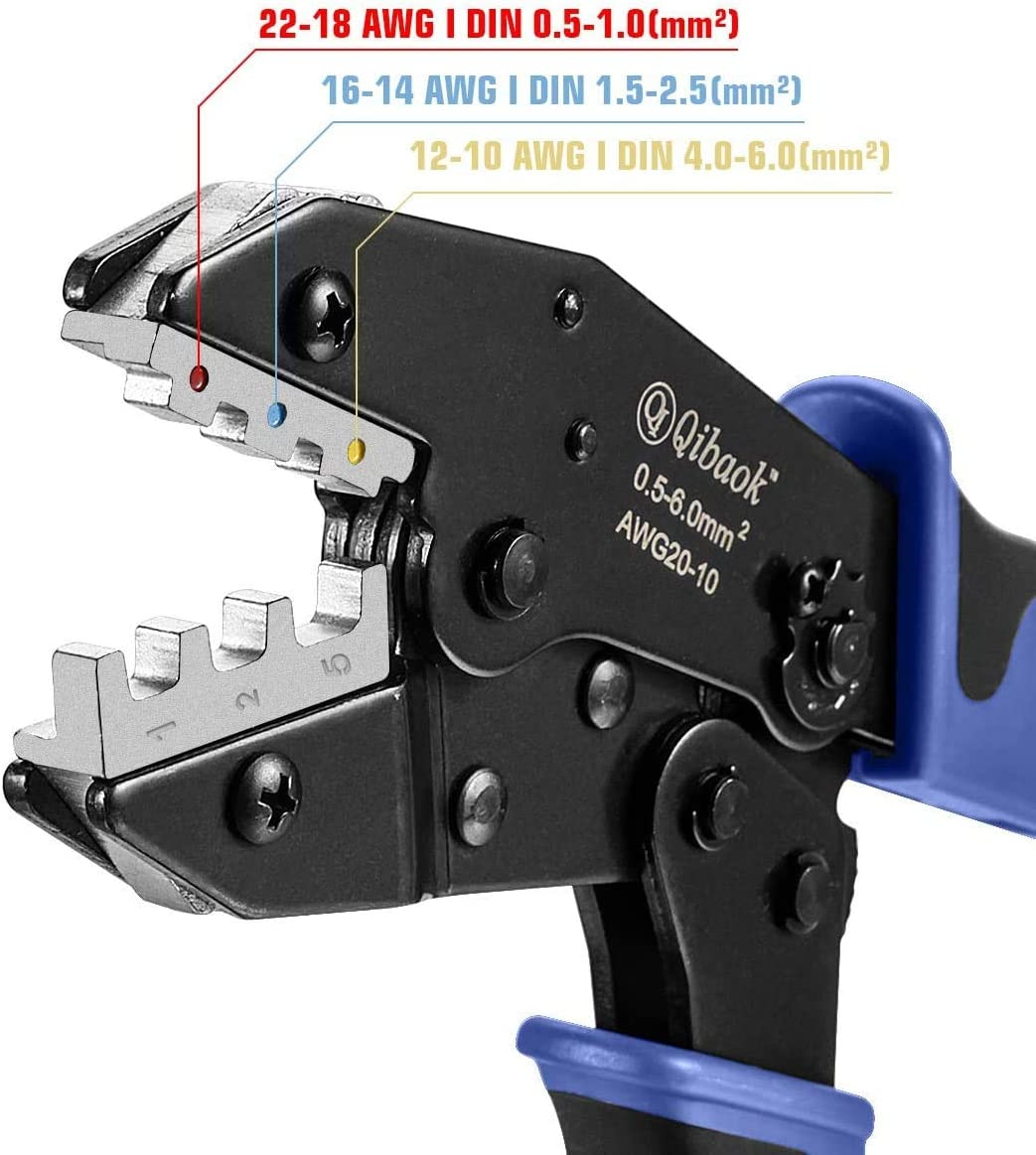Qibaok Crimping Tool Ratcheting Wire Crimper for Heat Shrink Connectors with 200pcs Heat Shrink Butt Connectors for AWG 22-10