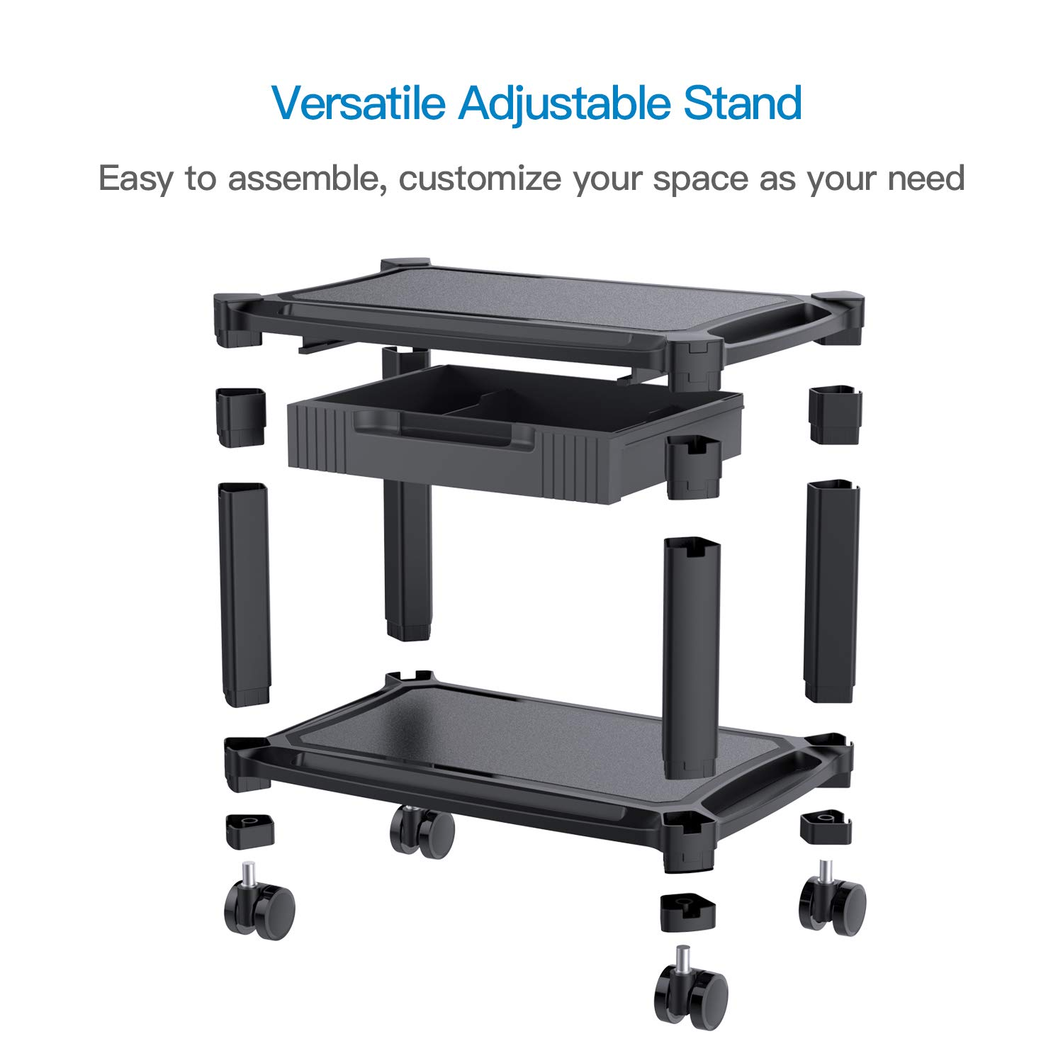 Printer Stand - Under Desk Printer Cart with 4 Rolling Wheels & Storage Drawer, Durable Printer Riser Shelf for Fax, Scanner, Office Supplies by HUANUO by HUANUO (Image #4)