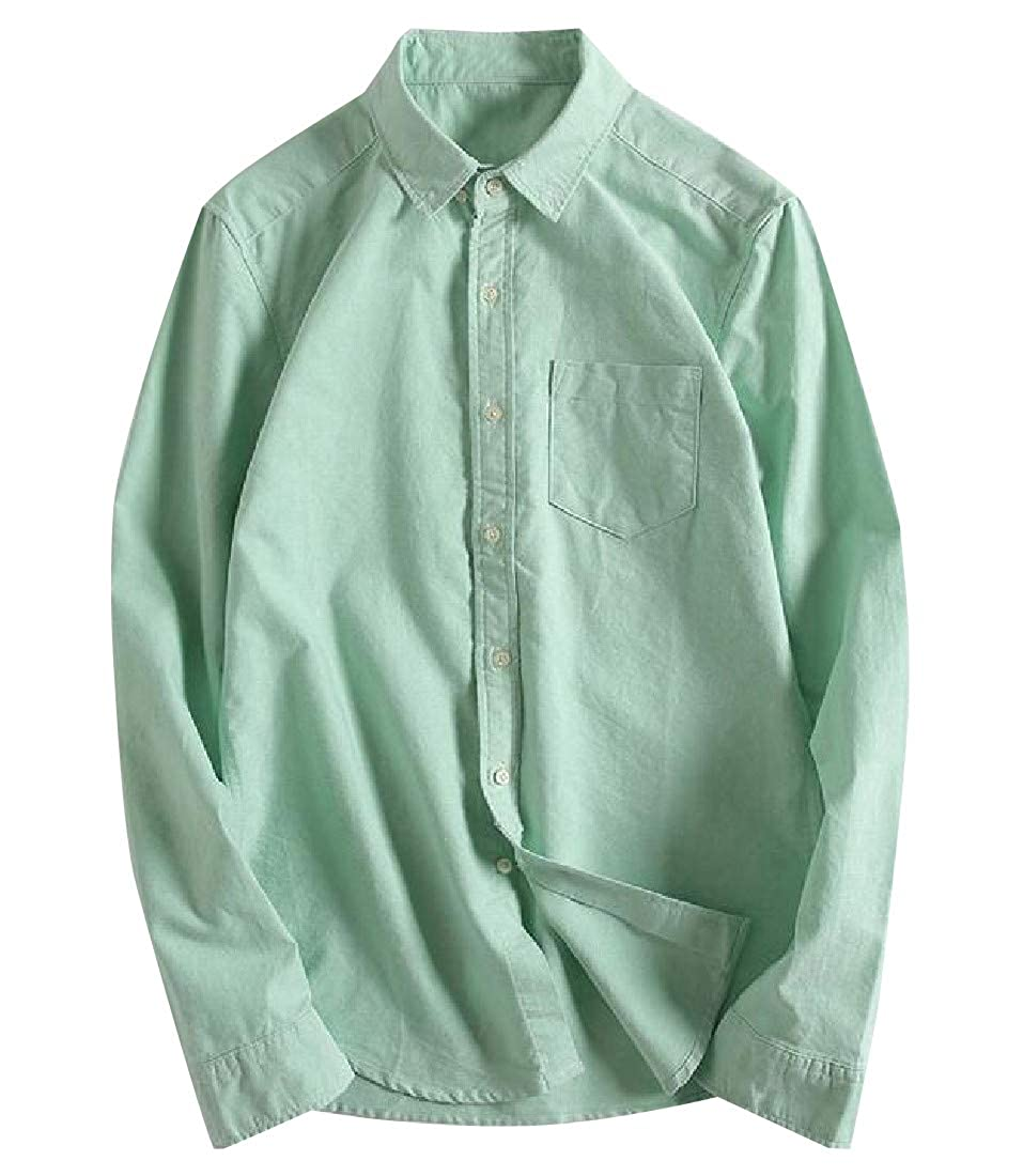 YUNY Mens Casual Slim Fit Buttoned Solid Casual Long-Sleeve Shirt Green M