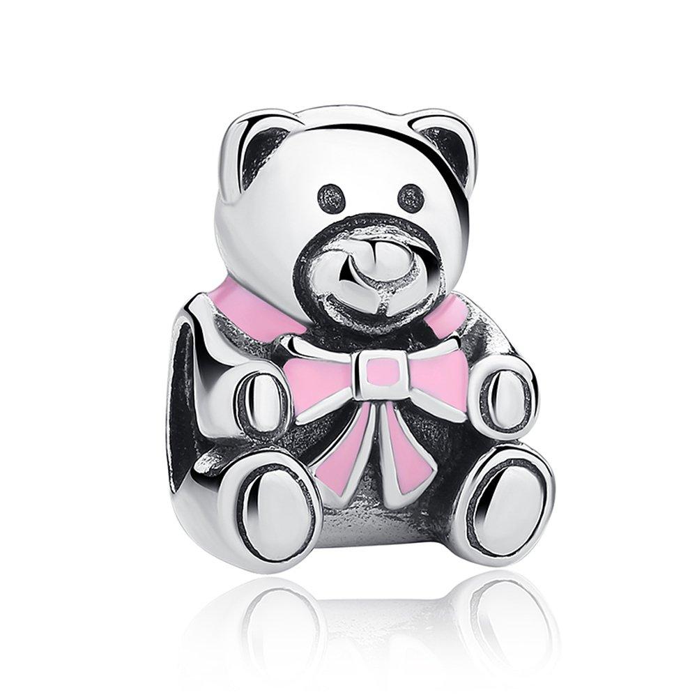 Everbling Little Cute Teddy Bear 925 Sterling Silver Bead For European Charm Bracelet EBYZYSCC533