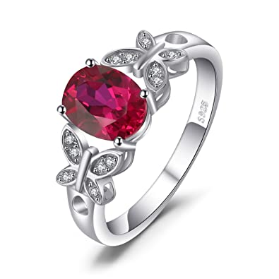 974678af2d JewelryPalace Butterfly 1.8ct Created Ruby Statement Ring 925 Sterling  Silver Size 5