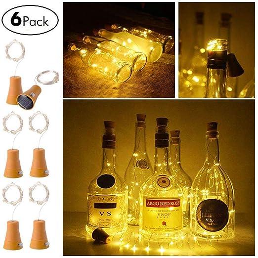 XuBa 6Pcs 1M 10 Leds Botella de Vino Solar Tapón Alambre de Cobre Estrellada Luz de Hada Blanca Cálida para decoración de Fiesta de Bodas Luz Blanco ...