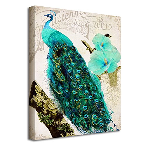 Avena Peacock Canvas Paintings Peacock Wall Art Printing Modern Wall Decor Decoration Beautiful Oil Painting with Hanging String 12x16in / 30x40cm
