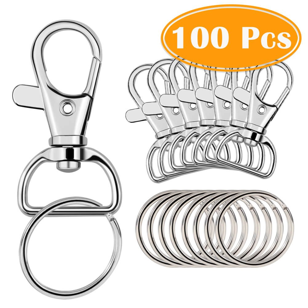 Paxcoo 100 Pcs Key Chain Hooks with Key Rings (Large Size)