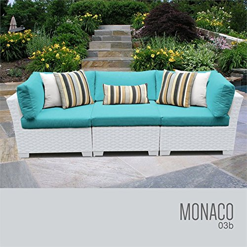 TKC Monaco 3 Piece Patio Wicker Sofa in Turquoise